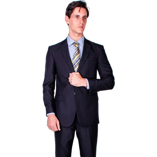 Black Tonal Stripe Two-button Modern Fit Suit
