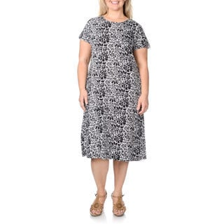 La Cera Women's Plus Size Abstract Floral Print Dress