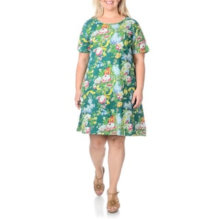 La Cera Women's Plus Size Teal Large Floral Print Dress