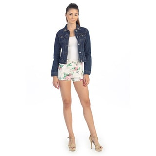 Hadari Women's Contemporary Rhinestone Jean Jacket