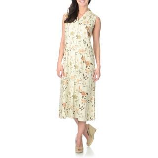 La Cera Women's Ivory Floral Print Silk Button-front Dress