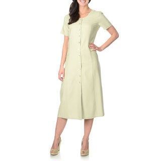 La Cera Women's Sage Green Silk Button-front Dress