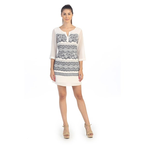 Hadari Women's Lace Print 3/4 Sleeve Navy/ Cream Dress