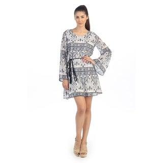 Hadari Women's White Paisley Shift Dress