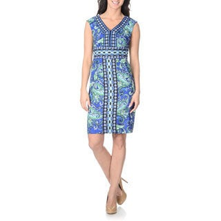 London Times Women's Abstract Floral Sheath Dress