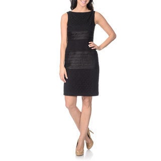 London Times Women's Black Lace Shimmer Sheath Dress