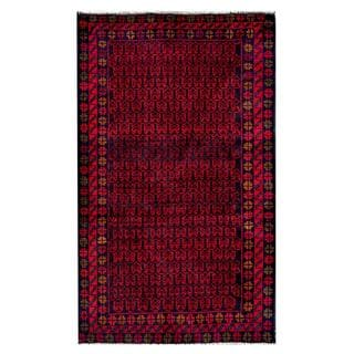 Herat Oriental Semi-antique Afghan Hand-knotted Tribal Balouchi Red/ Navy Wool Rug (2'10 x 4'8)