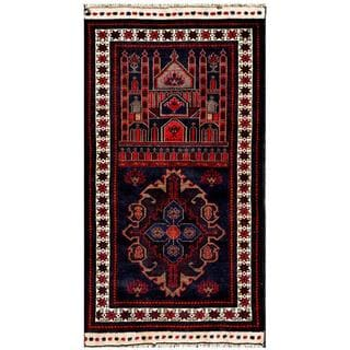 Herat Oriental Semi-antique Afghan Hand-knotted Tribal Balouchi Red/ Navy Wool Rug (2'7 x 4'9)