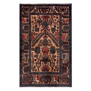 Herat Oriental Semi-antique Afghan Hand-knotted Tribal Balouchi Beige/ Navy Wool Rug (2'11 x 4'8)