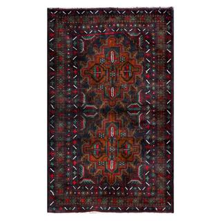 Herat Oriental Semi-antique Afghan Hand-knotted Tribal Balouchi Brown/ Navy Wool Rug (2'10 x 4'8)