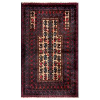 Herat Oriental Semi-antique Afghan Hand-knotted Tribal Balouchi Beige/ Navy Wool Rug (2'11 x 4'9)