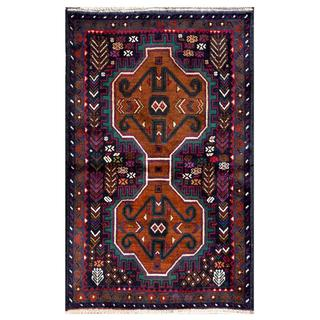 Herat Oriental Semi-antique Afghan Hand-knotted Tribal Balouchi Brown/ Navy Wool Rug (2'8 x 4'3)