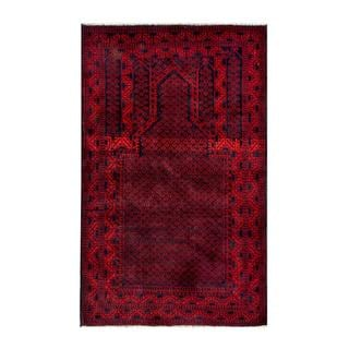 Herat Oriental Semi-antique Afghan Hand-knotted Tribal Balouchi Red/ Navy Wool Rug (2'8 x 4'5)
