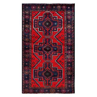 Herat Oriental Semi-antique Afghan Hand-knotted Tribal Balouchi Red/ Navy Wool Rug (2'5 x 4'6)
