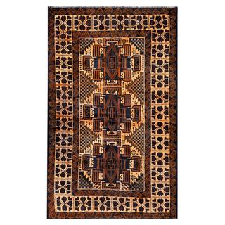 Herat Oriental Semi-antique Afghan Hand-knotted Tribal Balouchi Brown/ Navy Wool Rug (2'9 x 4'6)