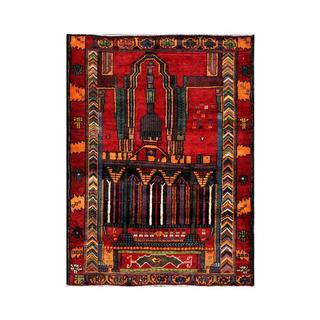 Herat Oriental Semi-antique Afghan Hand-knotted Tribal Balouchi Red/ Orange Wool Rug (2'11 x 4'1)