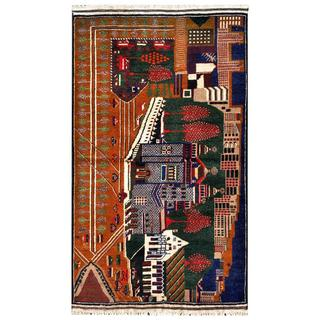 Herat Oriental Semi-antique Afghan Hand-knotted Tribal Balouchi Green/ Brown Wool Rug (2'10 x 5')