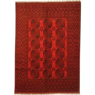 Afghan Hand-knotted Turkoman Red/ Burgundy Wool Rug (6'7 x 9'6)
