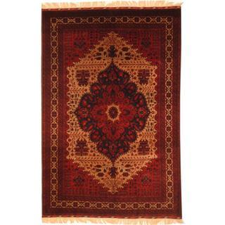 Afghan Hand-knotted Khal Mohammadi Belgik Beige/ Rust Wool Rug (6'6 x 9'11)