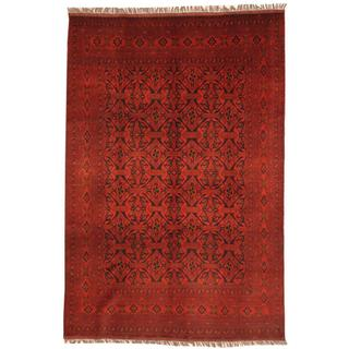 Afghan Hand-knotted Khal Mohammadi Red/ Navy Wool Rug (6'9 x 9'7)