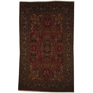 Persian Hand-knotted Tabriz Red/ Turquoise Wool Rug (6'1 x 10'2)