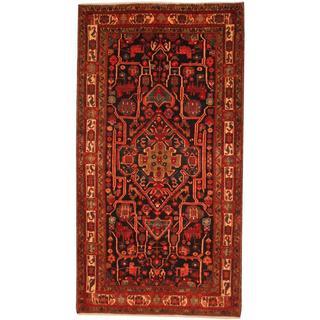 Persian Hand-knotted Sirjan Hamadan Navy/ Ivory Wool Rug (5'6 x 10'3)