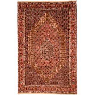 Persian Hand-knotted Moud Bidjar Ivory/ Peach Wool Rug (6'7 x 10')