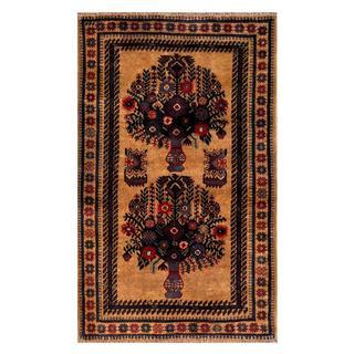 Herat Oriental Semi-antique Afghan Hand-knotted Tribal Balouchi Tan/ Navy Wool Rug (2'9 x 4'7)