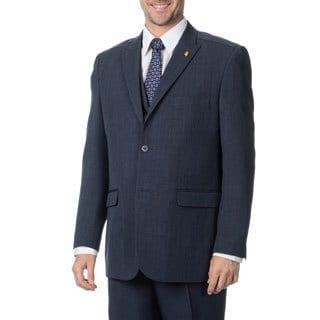 Falcone Men's Navy Blue Vested 3-piece Suit