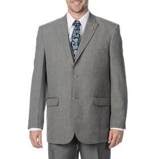 Falcone Men's Charcoal Vested 3-piece Suit