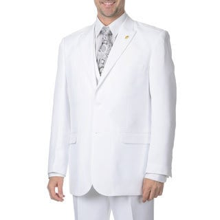Falcone Men's White Vested 3-piece Suit
