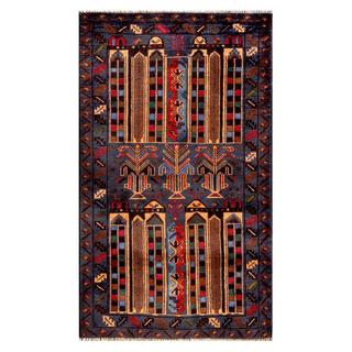 Herat Oriental Semi-antique Afghan Hand-knotted Tribal Balouchi Navy/ Beige Wool Rug (2'9 x 4'7)