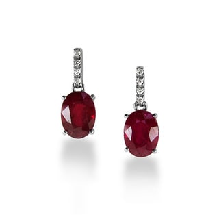 14k White Gold Oval-cut Ruby Diamond Accent Earrings