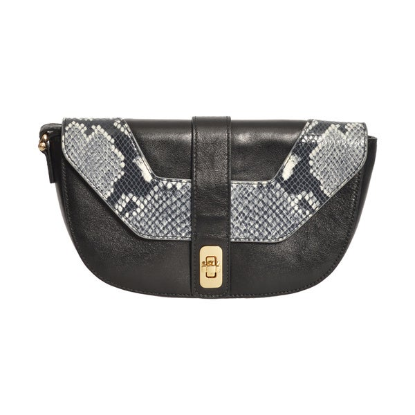 Henri Bendel Black Leather Croc-embossed Wristlet