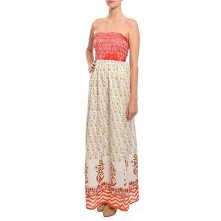 Blue Plate Women's Sweet Cherry Print Strapless Summer Maxi Dress