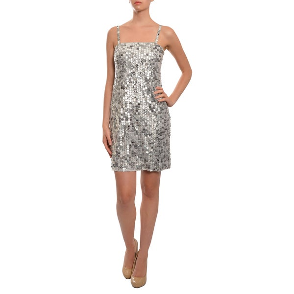 Women's 'Bailey' Silver Sequined Fitted Party Dres