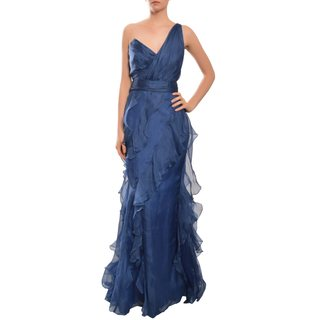 Badgley Mischka Women's Navy One-shoulder Ruffled Tiers Asymmetrical Gown