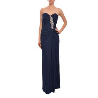Badgley Mischka Women's Navy Strapless Sweetheart Draped Evening Gown Dress