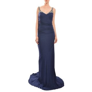 Badgley Mischka Women's Navy Blue Beaded and Ruched Evening Gown