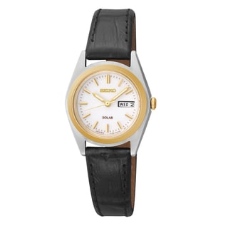 Seiko Women's 'Solar' Black Leather Watch