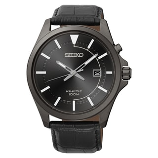 Seiko Men's Kinetic Black Leather Watch
