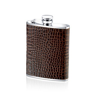 Stainless Steel 6-ounce Stainless Steel and Genuine Alligator Leather