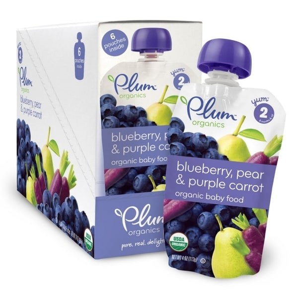 Plum Organics Second Blends Blueberry, Pear & Purple Carrot 4-ounce Pouch (Pack of 6)