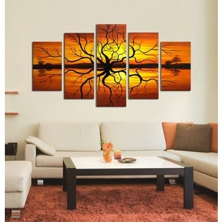 Hand-painted 'Tree Reflection' 5-piece Canvas Art