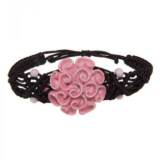 Handmade Ceramic Pink Flower Bracelet (China)