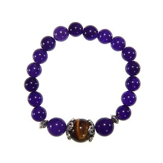 Amethyst and Tiger's Eye Beaded Stretch Bracelet (China)
