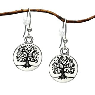 Jewelry by Dawn Round Pewter Tree Of Life Dangle Earrings