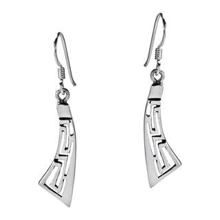 Greek Key Curvy Sterling Silver Dangle Earrings (Thailand)