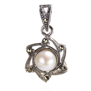 Vintage Sunny June Pearl Marcasite 925 Silver Pendant (Thailand)