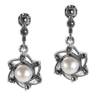 Vintage Sunny June Pearl Marcasite 925 Silver Drop Earrings (Thailand)
